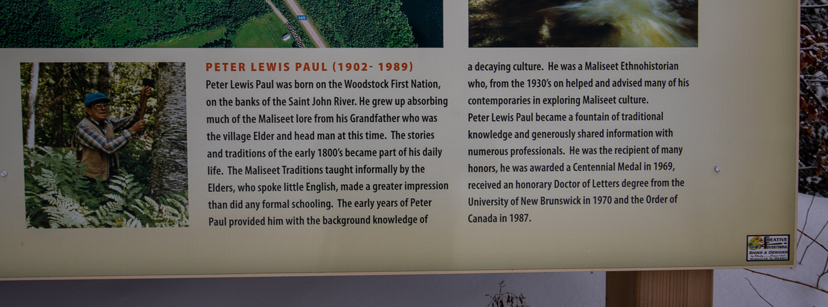 Peter Louis Paul on the Maliseet Trail sign
